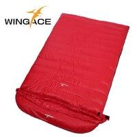 WINGACE заполнить 1000 г гусиный пух двойной спальный мешок для взрослых 225*130 см Открытый Отдых путешествия сверхлегкий конверт спальный сумка