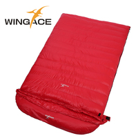 WINGACE Fill 1000G Goose Down Double Sleeping Bag Adult 225*130CM Outdoor Camping Travel Ultralight Envelope Sleeping Bag