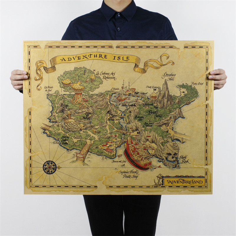 adventure island vintage map kraft posters paper bar decorative painting for pub coffee room 70x57cm HD040