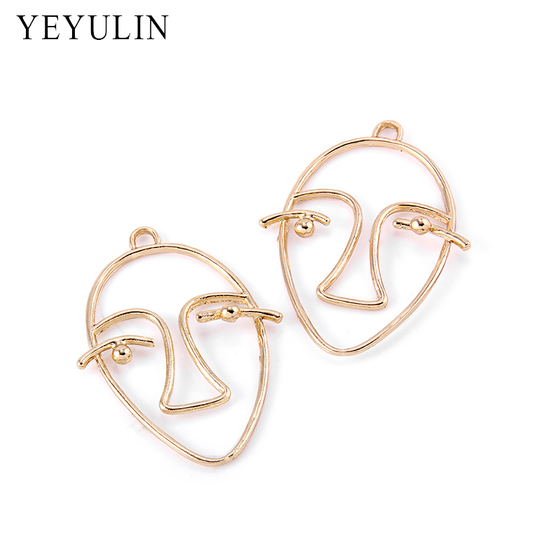 Trendy Gold Color Alloy Abstractive Human Face Contour Design Pendant Charms For Necklace Bracelet DIY Making 10pcs