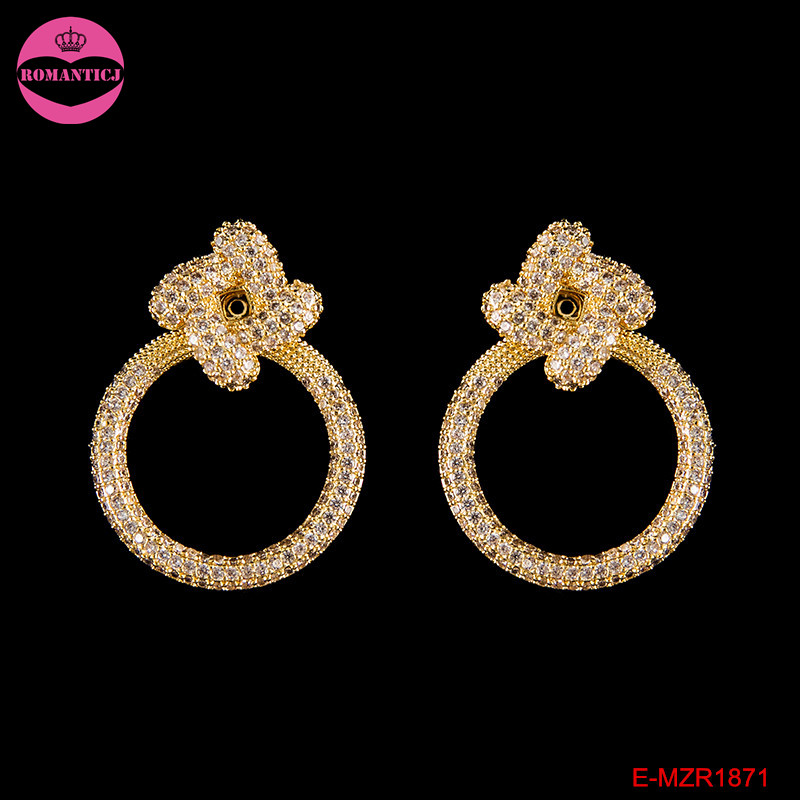 Latest luxury design gold big circle earrings for girls fashion ...