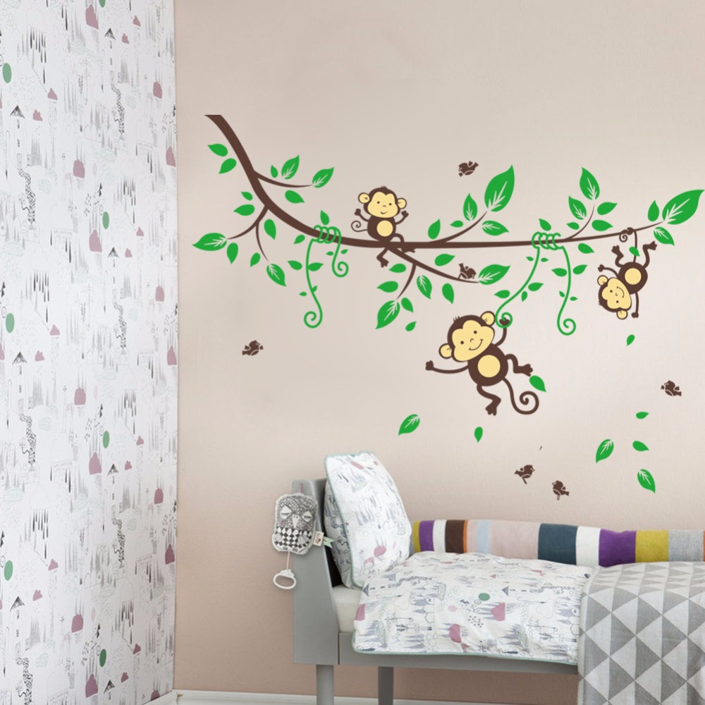 Cartoon forest play monkey stick 3d wall stickers pvc film 3d diy cartoon forest play monkey stick 3d wall stickers pvc film 3d diy wallpaper living room decor school wall decoration in wall stickers from home garden on amipublicfo Images
