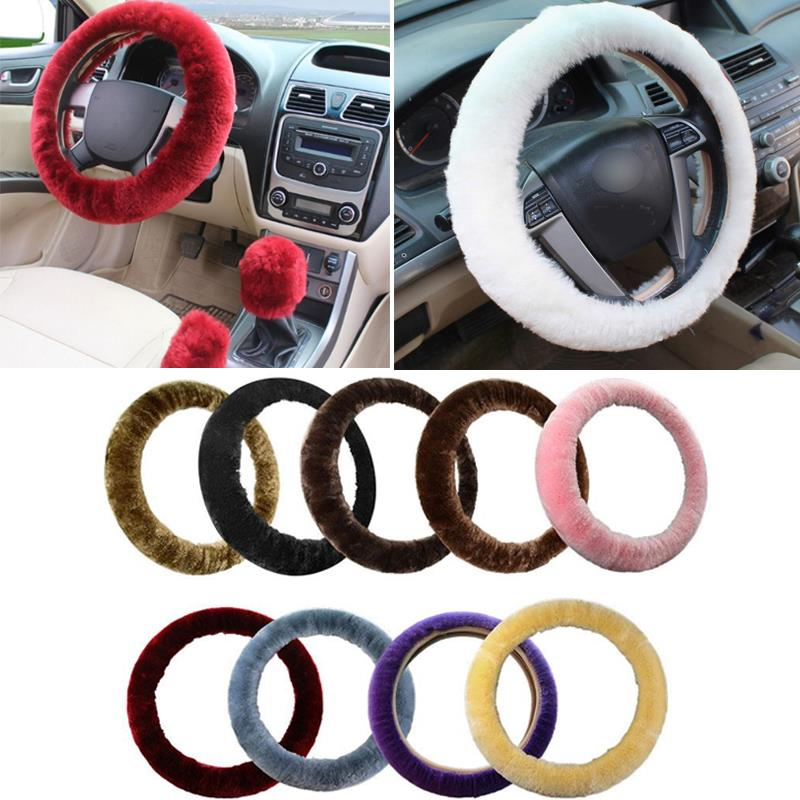 Vehemo 3pcs Car-styling Wool Car Steering Covers +Spring Fur Handle Sleeves/Hand Brake Cover+Stop Lever Cover Winter Warmer
