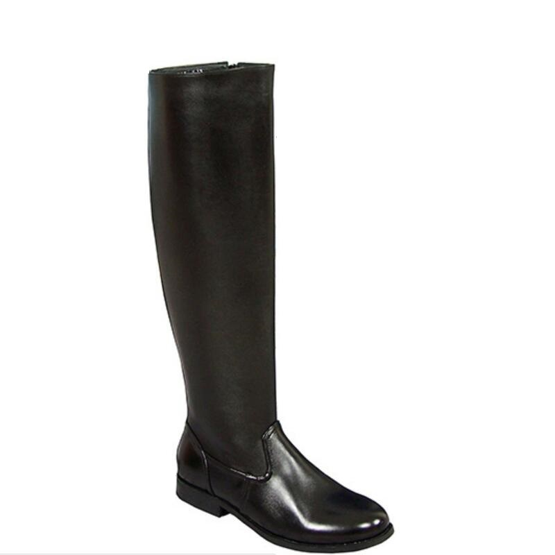 騎士ブーツ男性冬フルグレインレザーフラットヒールロングブーツ英国スタイルのラウンドトウ暖かい快適なファッションロングブーツ  グループ上の 靴 からの ベーシックブーツ の中 1