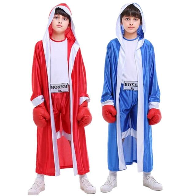 Carnaval niño niña Azul Rojo boxeador Cosplay traje niños boxeo rendimiento  trajes Halloween partido 1a3c6187ab4