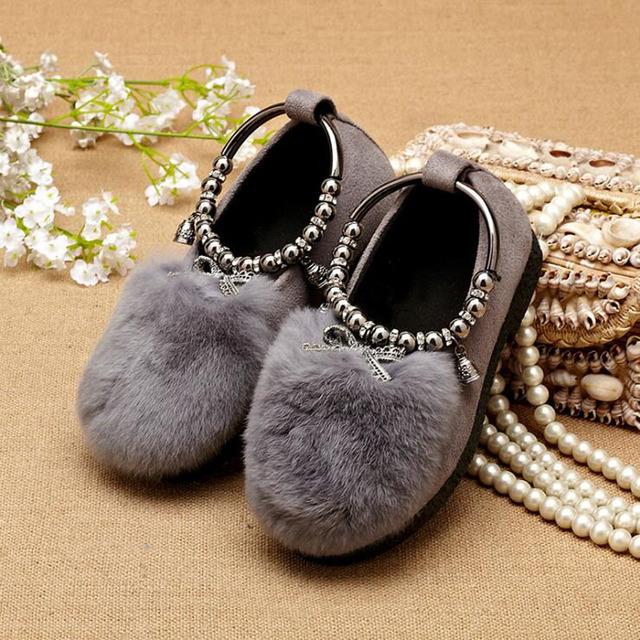 Primavera kids fashion princess shoes girls fur plana pera brillo niño danza shoes school girl shoes grande y pequeño de invierno zapatillas de deporte
