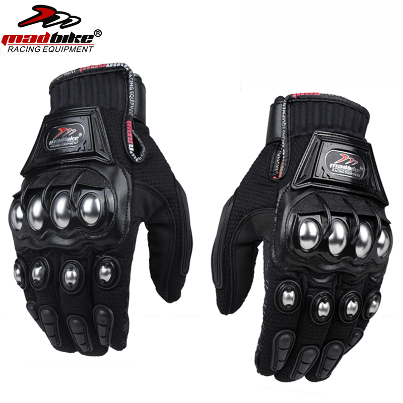 Mad Bike Outdoor Sport Full Finger Knight Riding Motorbike Motorcycle Gloves Racing Breathable Mesh Fabric Men Women Steel Glove