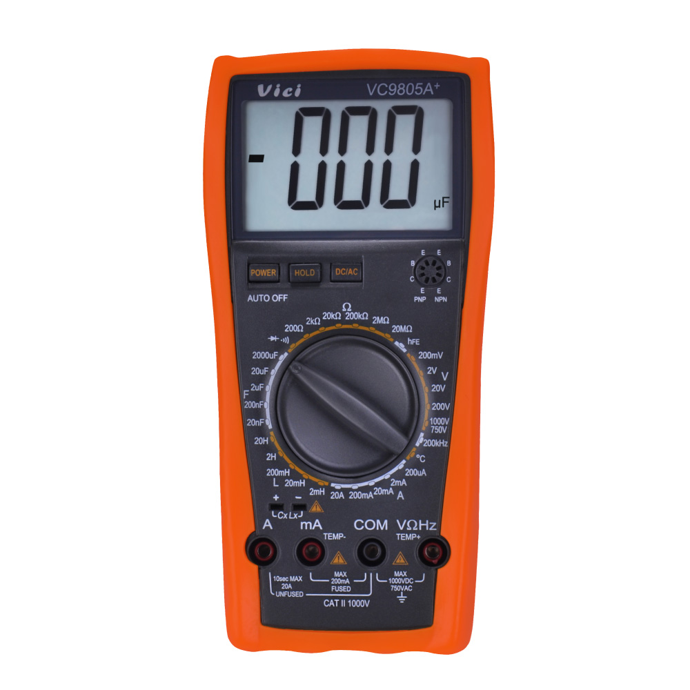 US $24 98 34% OFF|VC9805A+ Digital Multimeter DMM LCR Meter Temperature  Inductance Capacitance Frequency & hFE Test full protection measure-in