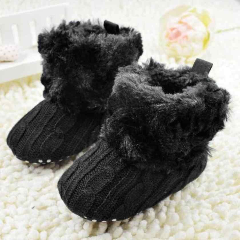 a15a6170d5d4c Crochet-Baby-Boots Infant Girl Fleece Snow Boots Booties Kids Princess  Black Shoes for babies Winter Warm Shoe