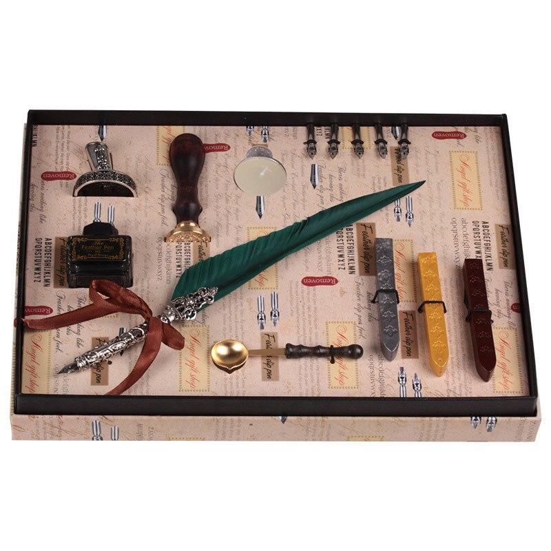 Coffret cadeau Vintage Harry Potter métal courbé naturel plume de dinde ensemble avec 5 plumes, stylo support, cire, nom sceau, Quil - 3