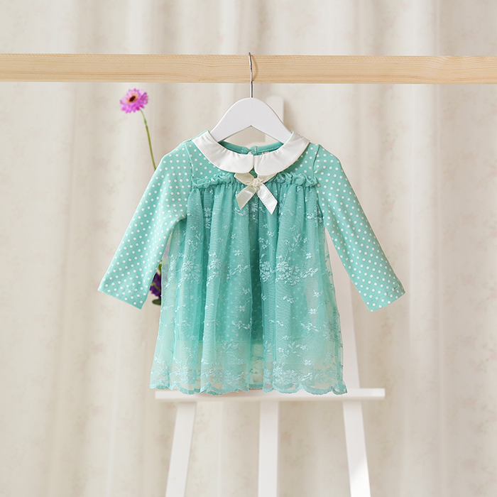 2016 autumn spring newborn wear long sleeves for baby lace top baby clothes cute and pretty dress for girls baby