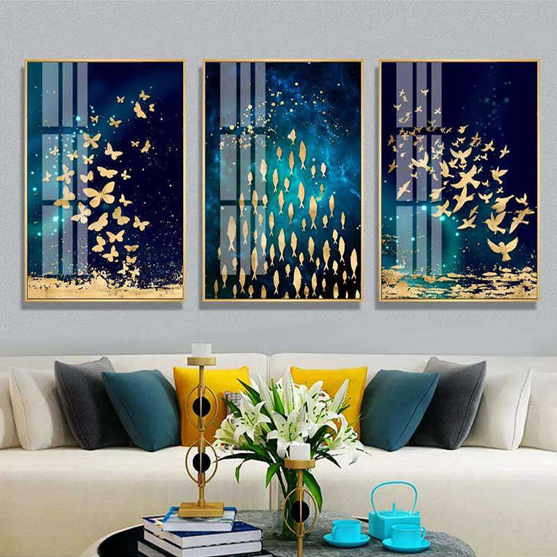 Golden Fish Butterfly Bird Wall Art Canvas Abstract Painting Modern Home Decor Posters and Prints Decoration Picture Living Room
