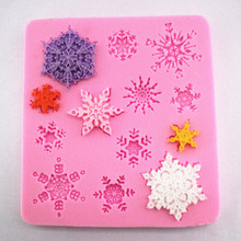 1 pc Sugar Craft Snow Fondant Mold Christmas Winter Decor Silicone Snow Fondant Mold Snowflake Shape Cake Mold Cake Decorating(China)