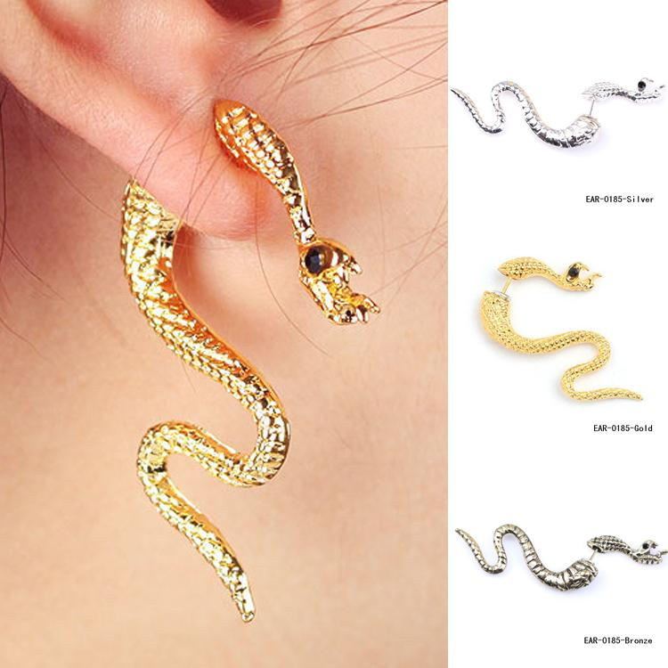 1pc Fashion Jewelery 3 Colors Accessories Exaggerated Punk Style 1 Piece Ear Clip Snake Shaped Stud Earring