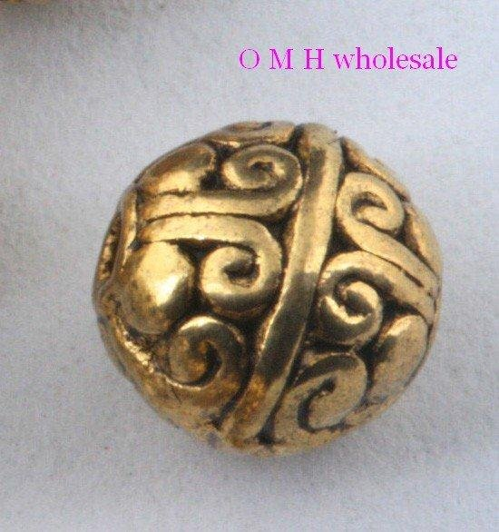 OMH Wholesale Free 15pcs Golden Tibetan Silver Round Spacer Beads Jewelry Metal Beads 7.5mm 8mm  10mm ZL504