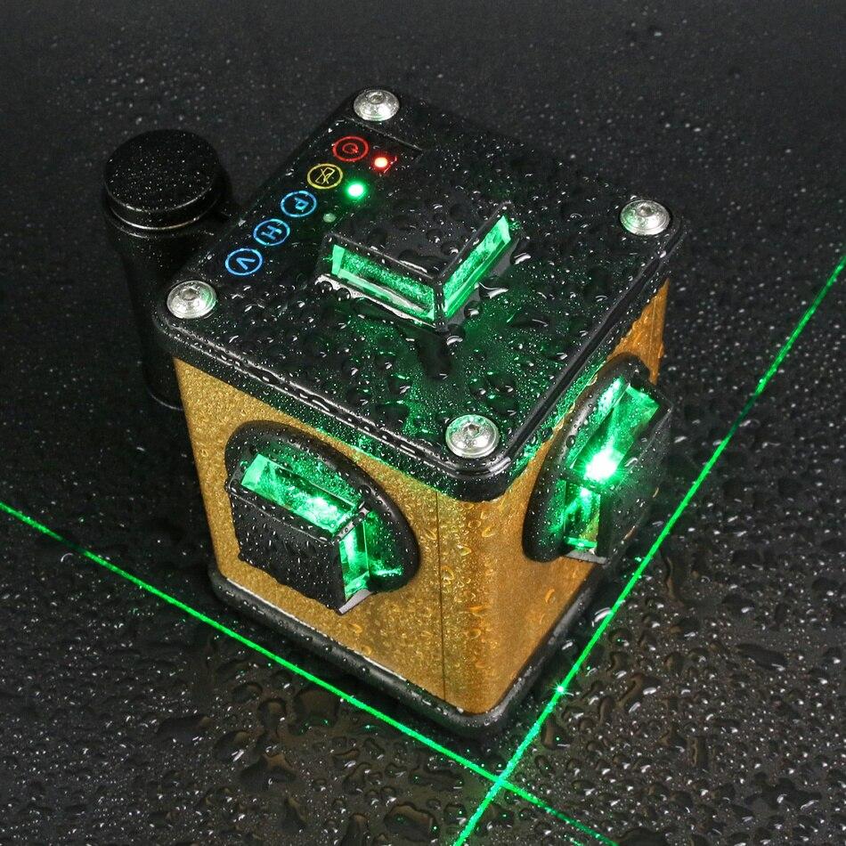 Kaitian Laser Autolivellante Livello Verde 3D 12 Linee Nivel Laser 360 Rotante Staffa Treppiedi per il Livello Automatico Strumenti di Costruzione