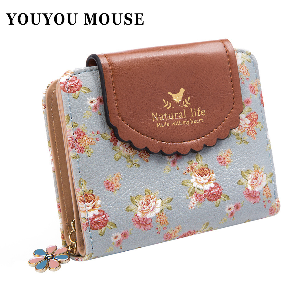 YOUYOU MOUSE Fashion Design Women Wallets Fresh Simple Retro Solid Floral Purse Ladies Wallet Clutches Coin Pocket Card Holder simline fashion genuine leather real cowhide women lady short slim wallet wallets purse card holder zipper coin pocket ladies