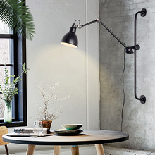 Nordic Adjustable Wall light Modern Industrial Long Swing Arm Black Wall Lamp Sconce Retro E27 Lights For Bathroom Bedroom Foyer retro bronze single swing arm wall lamp for bedroom bedside adjustable wall mount swing arm lamp