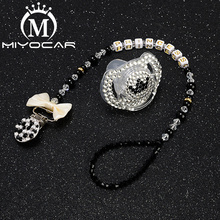 MIYOCAR bling lack pacifier clip any name personalized holder dummy with black white SP008