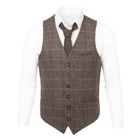 VOBOOM Wool Tweed Waistcoat Herringbone Mens Plaid Suit Vest Casual Fit Male Business Wedding Classic Masculino Blazer 007
