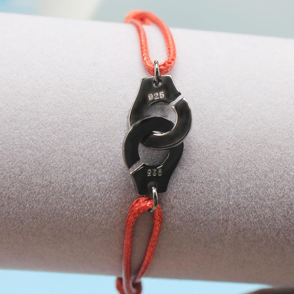 Мужские ювелирные изделия из стерлингового серебра 925 браслет наручники для женщин Bijoux с регулируемой веревкой 925 Серебряный кулон браслет для мужчин - Окраска металла: RH