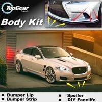 Bumper Lip Deflector Lips For Jaguar XJ X350 X358 XJ351 XJ6 XJ8 Vanden Plas XJR Front Spoiler Skirt / Body Kit / Strip