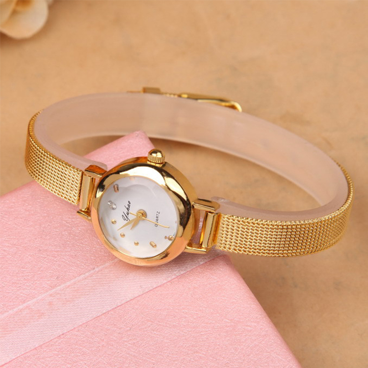 New Ladies Fashion Watches Women Watch Girls Royal Gold Small Dial ...