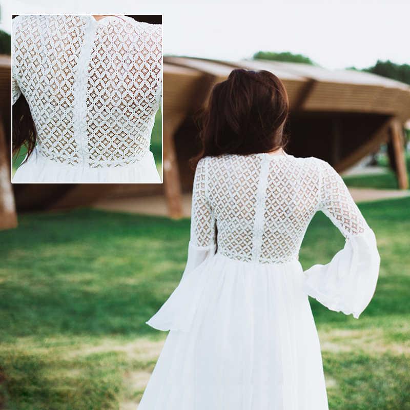 Bohoartist женское сексуальное платье с длинным рукавом с расклешенными рукавами, v-образный вырез, белые вечерние богемные кружевные Макси-платья, праздничные шикарные летние женские платья