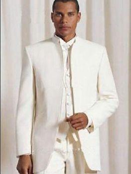 2018 ivory Custom Mens Wedding Groom Tuxedo Suits (Jacket+Pants+Vest+ Tie) C362