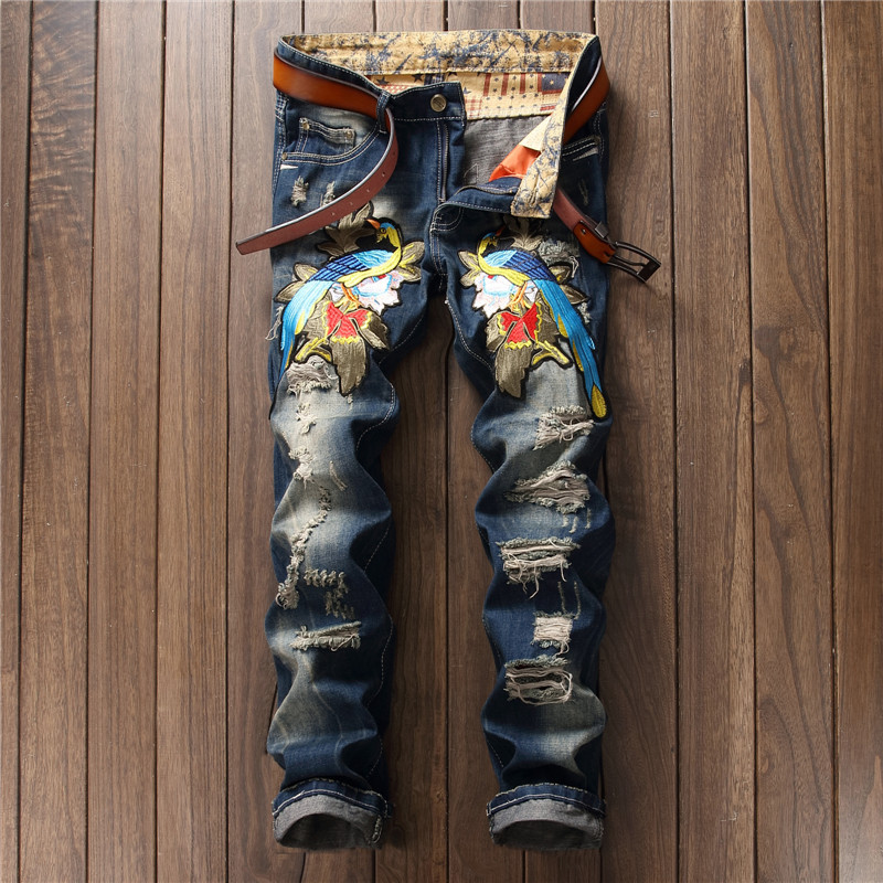 2017 Men`s Retro Magpies Embroidery Jeans Pants Punk Style Gothic Hole patch Club night slim straight Cool Jeans For Young Men