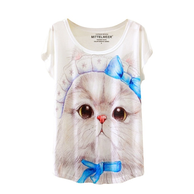 Cat Print O-Neck Blouse