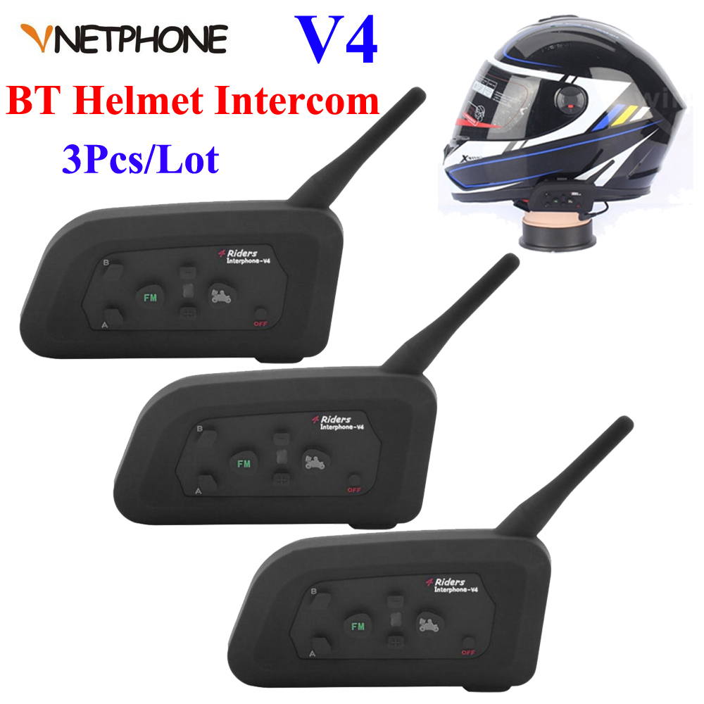 3Pcs 1200M V4 Motorcycle Bluetooth Helmet Headset Intercom 4 Riders Talk Full Duplex BT Interphone FM Helmet Intercom Headphones bt s2 waterproof helmet intercom motorcycle headset automatic bluetooth handfree intercom