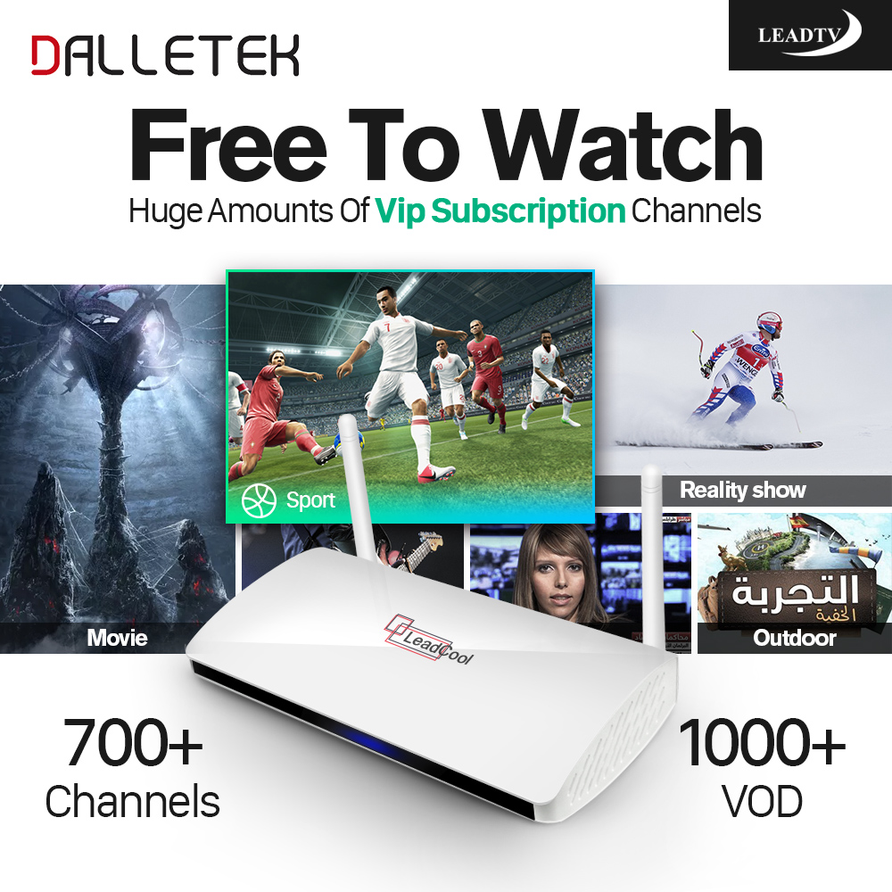Фото Dalletektv Leadcool STB Android TV Box Iptv Subscription 1 year Leadtv 700+ French Arabic African Tunisia Channels IPTV Service