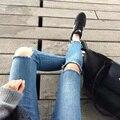 Womens Vintage Hole Tassel Denim Skinny Pants Jeans Femme vaqueros mujer Boyfriend Ripped Jeans Slim Pencil Pants Trousers