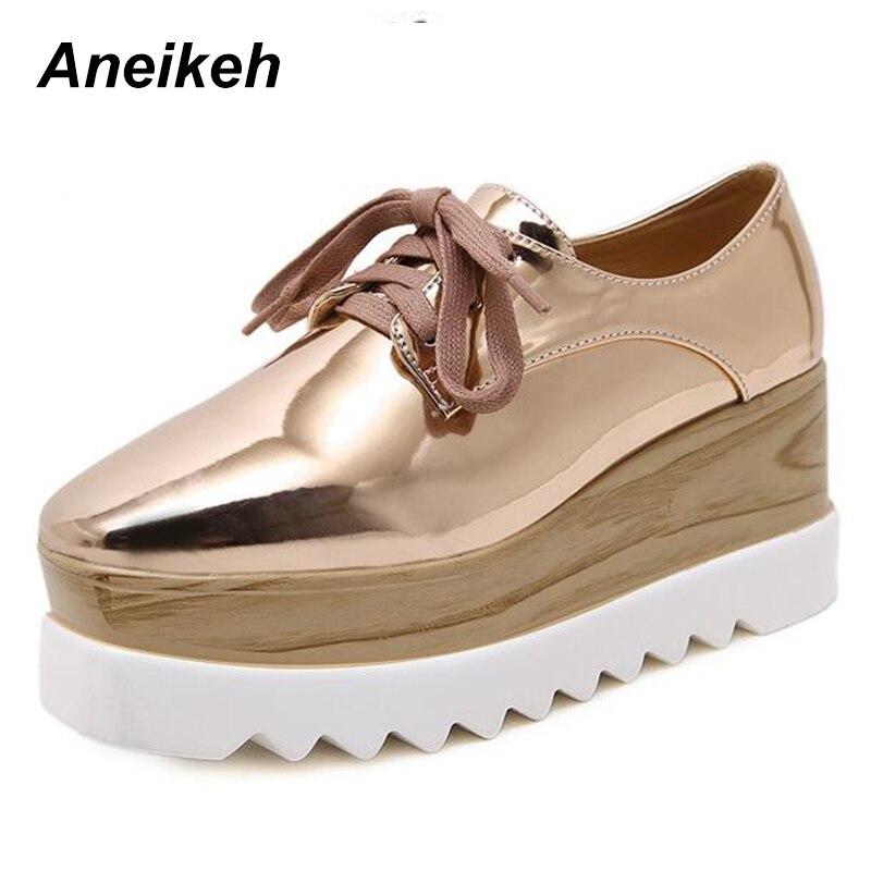 68b392d5cc Γυναικεία παπούτσια Aneikeh 2018 European Famous Brand Brogue Shoes Woman  Spring Patent Leather Oxford Platform Shoes Lace-Up Creepers Bullock Flats