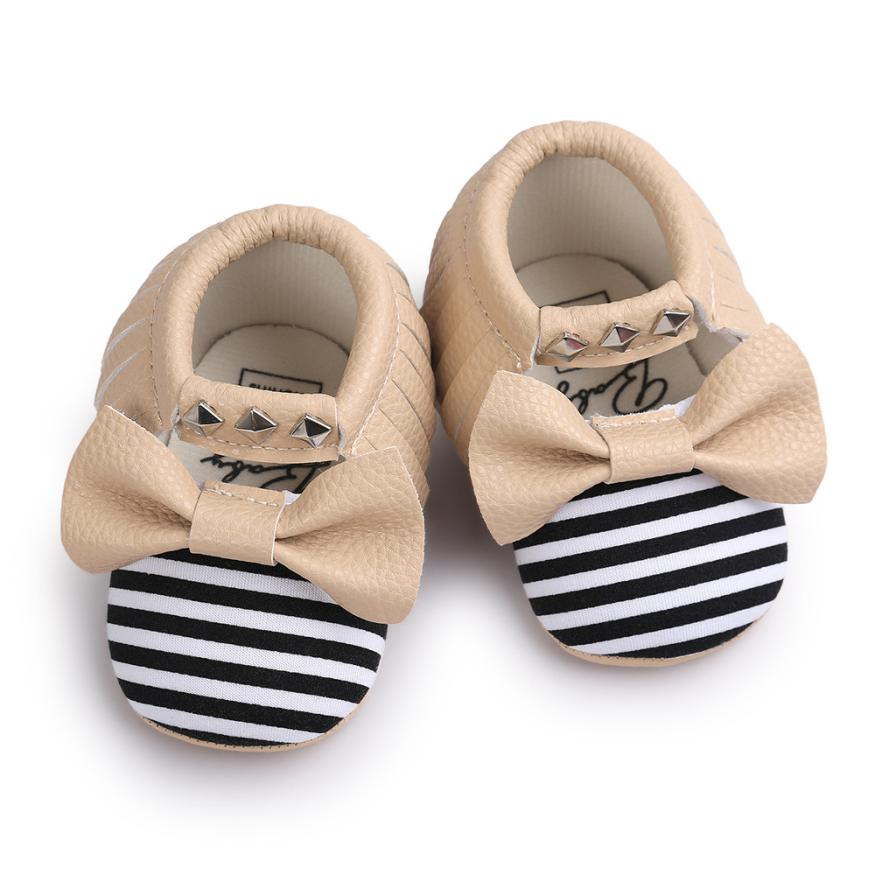 Hot Sale Baby Bowknot Baby Girl Shoes Stripe Rivet Soft Sole Baby Shoes Toddler Sneakers Casual First Walkers