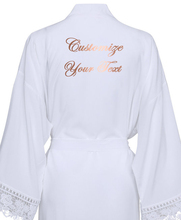 Custom Your Text Solid Cotton Kimono Bridesmaid Robes W/ Lace Trim Women Wedding Bridal Robe Short Belt Bathrobe Sleepwear Pink