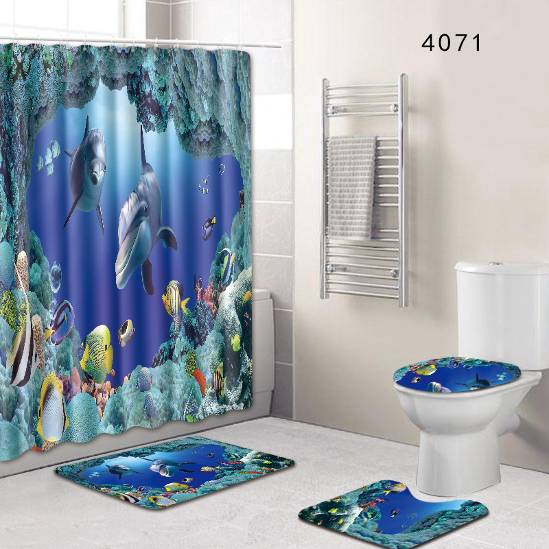 4 pcs/set Sea World Views Bathroom Carpet Mat Set With 180*180 cm Shower Bath Curtain Toilet WC Rugs Shower Room Accessories