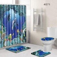 4 pcs/set Sea World Views Bathroom Carpet Mat Set With 180*180 cm Shower Bath Curtain Toilet WC Rugs Shower Room Accessories
