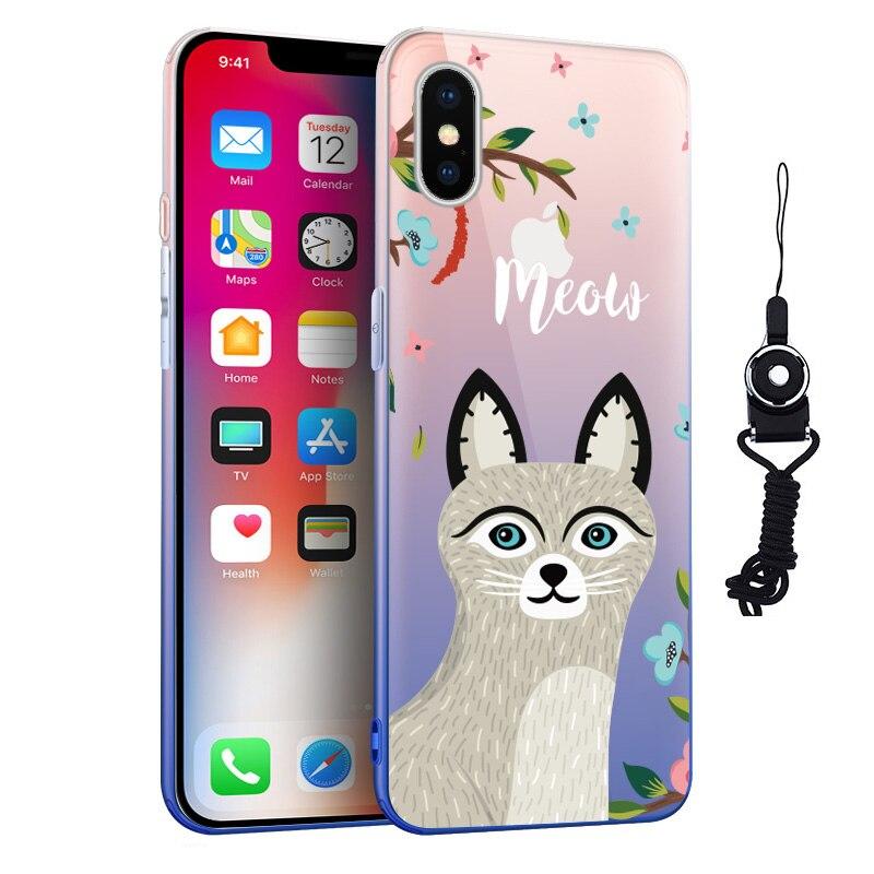 Для Coque iPhone х чехол Роскошные ультра тонкий градиент Цвет Мягкие TPU телефон кожи чехол для Apple iPhone X 6 6 плюс 7 8 плюс Капа