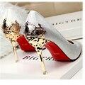 2016 Новый Сексуальный Психического Пятки Женская Обувь замши На Высоком Каблуке Женщины Насосы Цветок Металла Пятки Stiletto 9 цвета