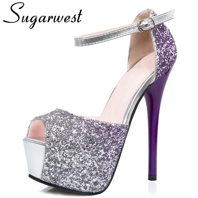 c06b96ca343 Sugarwest Sequin Peep Toe Platform High Heels 2017 Summer Women Wedding  Shoes Rome Gradient Glitter Woman Pumps WW228