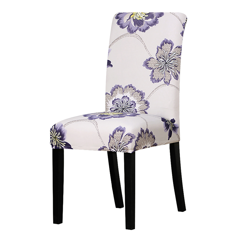 Printed grey flower chair cover Slipcovers Stretch Removable Dining seat Covers Hotel Banquet restaurant housse de chaise 62