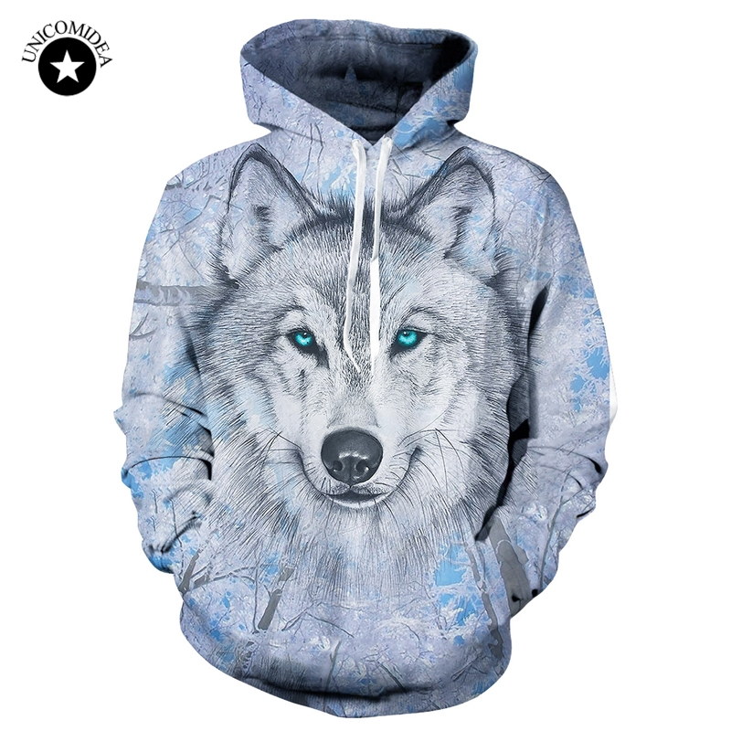 Unicomidea Wolf Sweatshirts Hooded Jackets Men Women Hoodies 3d Brand Male Long Sleeve Tracksuit Casual Pullovers Plus Size