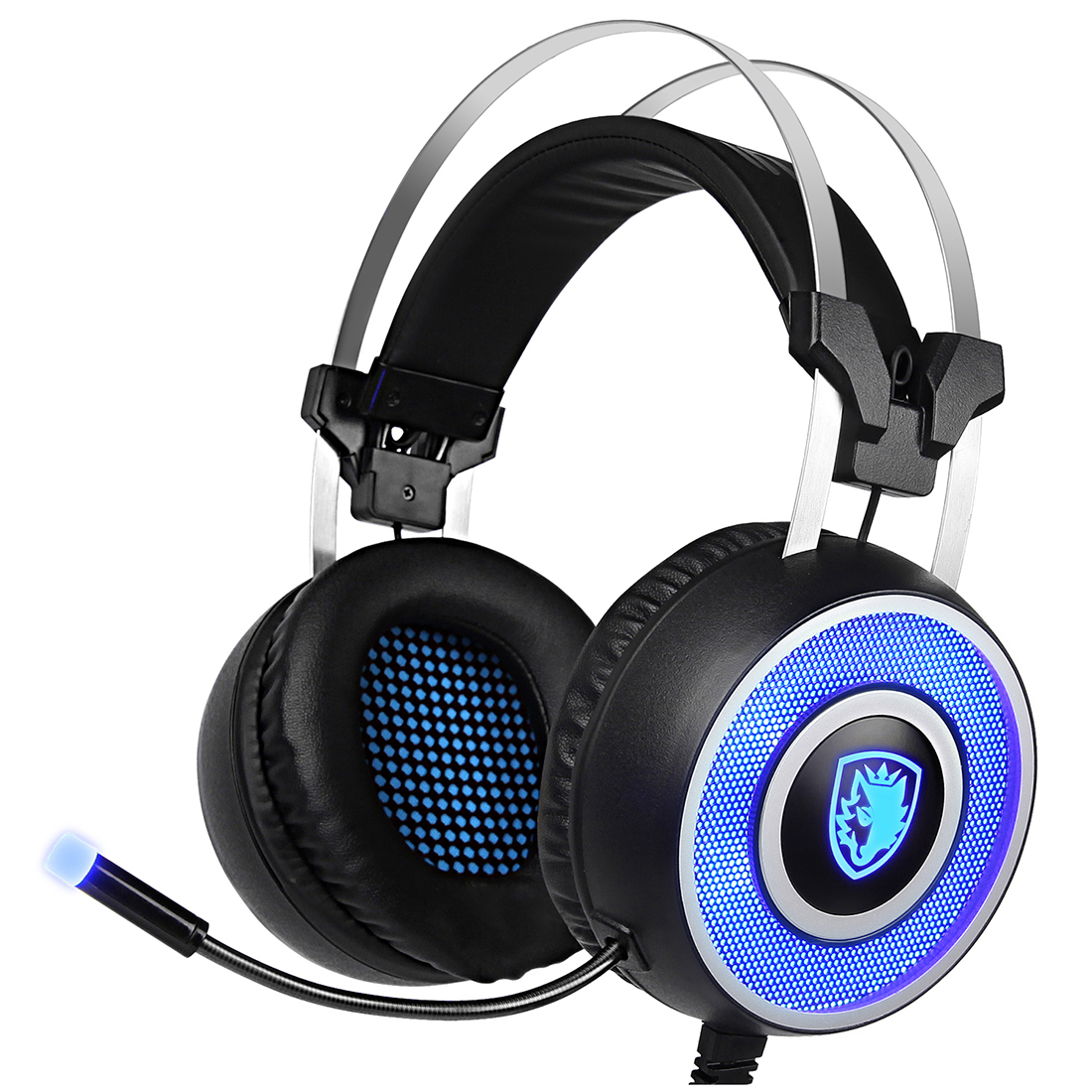 SADES A9 Gaming Headset,USB Over Ear Gaming Headphones with miniphone ,7 colors Breathing LED Lighting for PC(Black and Blue) each g1100 shake e sports gaming mic led light headset headphone casque with 7 1 heavy bass surround sound for pc gamer