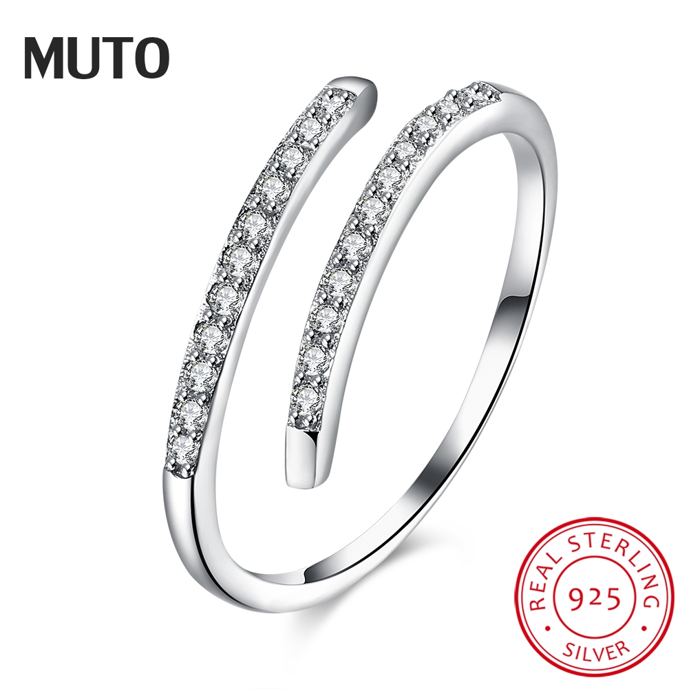 MUTO Simple Geometric Opening 925 Sterling Silver Ring Women 2017 Fashion Popular Adjustable Girl Fine Jewelry SVJZ6011