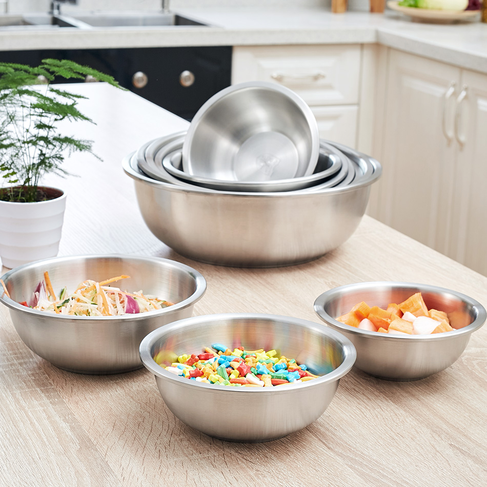 Kitchen Bar Tableware Bowls Thickening Stainless Steel Round Rice Soup Basins bowl