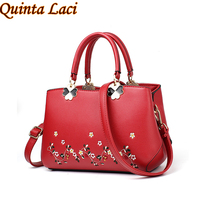 Quinta Laci Women Bag 2018 Fashion New Chinese Wind Hot New Bride Embroidered Flower Zipper Solid