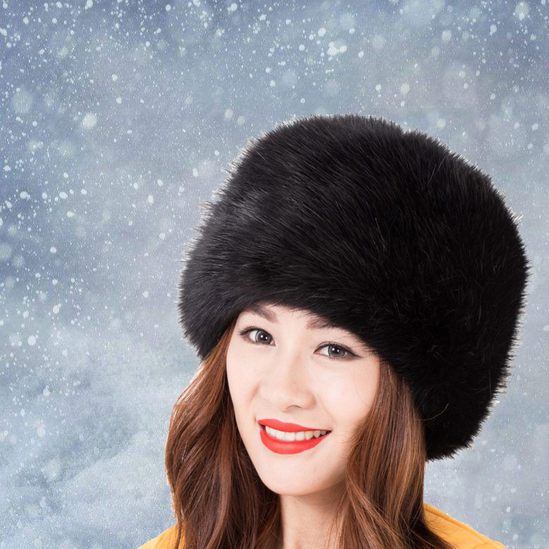 Fashion Winter Hats For Women Lady Faux Fox Fur Cossacks Russian Style Hat Winter Warm Cap