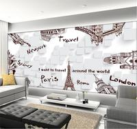 3d Wallpaper Custom Photo Non Woven Mural Picture Hand Painted Famous Buildings Decoration Painting 3d Murals